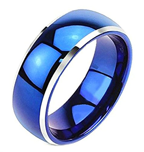 Thick Band 18k Rose (Aienid Men Stainless Steel Rings High Polished Beveled Edge Blue Wedding Band 8MM Size)