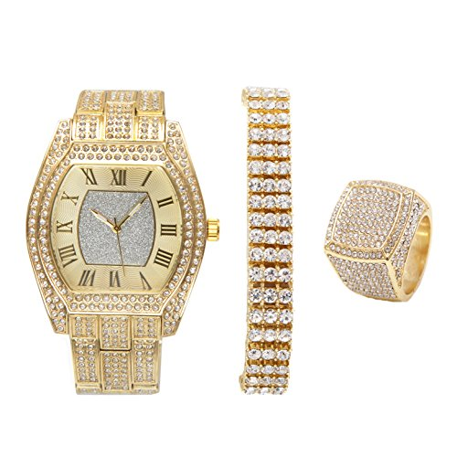 Mens Iced Out Barrel Shape Hip Hop Easy Reader Gold Watch w/Iced Out 3 Row Tennis Bling Bracelet and Bling Ring - ()