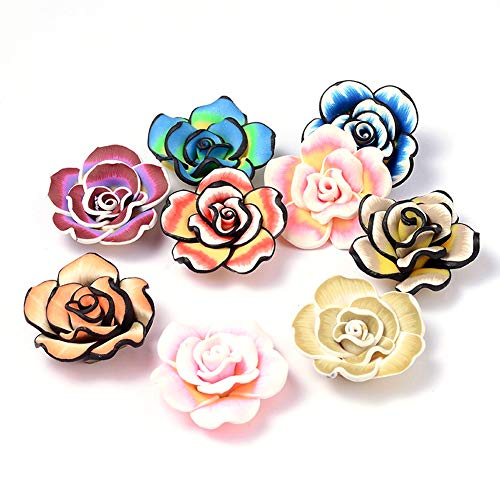 Kissitty 50Pcs Random Mixed Color Handmade Polymer Clay 3D Big Flower Beads 40x15mm Sided Drilled Floral Spacer Loose Charm Beads for DIY Jewelry Craft Making ()