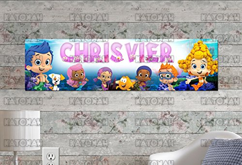 Customized Name Painting Bubble Guppies Poster With Your Name On It Personalized Banner]()
