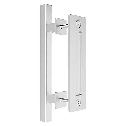 "smartstandard heavy duty 12\"" pull and flush barn door handle set large rustic two side design, for gates garages sheds furniture stainless steel,"