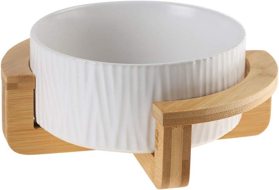 LIONWEI LIONWELI Ceramic Cat Dog Bowl Dish with Wood Stand No Spill Pet Food Water Feeder Cats Medium Dogs