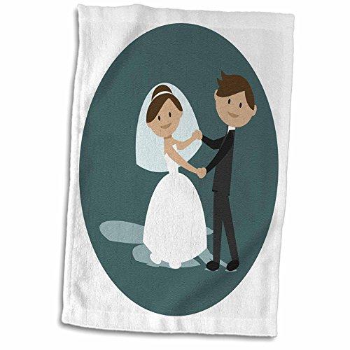 3dRose TNMGraphics Weddings - Cartoon Bride and Groom Holding Both Hands - 15x22 Hand Towel (twl_280620_1)