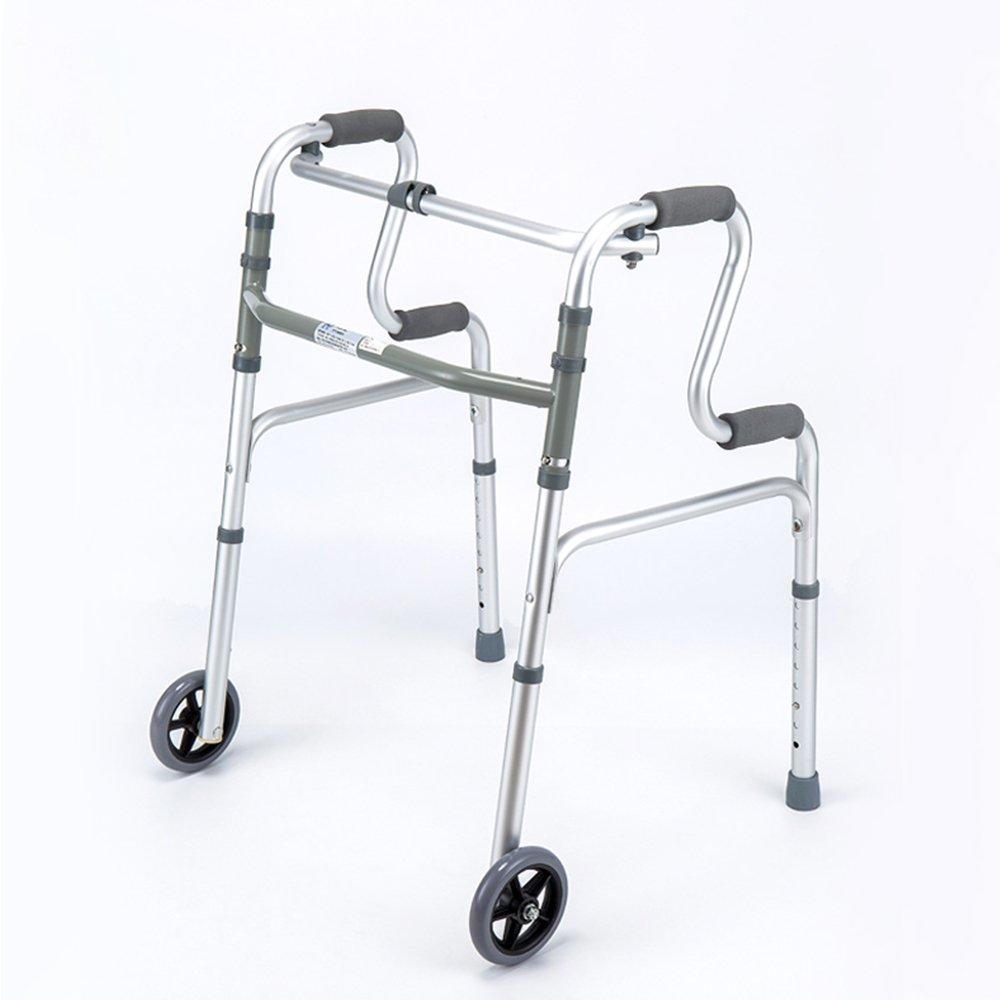 トイレシート 高齢者の歩行補助アルミニウム合金高齢者の松葉杖折りたたみポータブル歩行補助肢体障害救助援助 (色 : With wheels) B07D9CBYNF With wheels With wheels