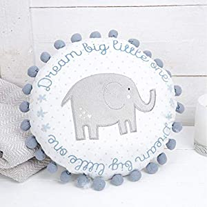 """Dream Big Little One"" Elephant Round Cushion with pom pom Baby Boy Blue"