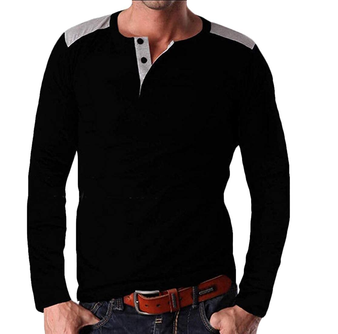 Alion Mens Blouses Casual Loose Fit Long Sleeve Cotton Henley Shirts Tops
