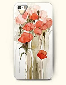 Phone Case For iPhone 5 5S Small Red Flowers - Hard Back Plastic Case / Oil Painting / OOFIT Authentic