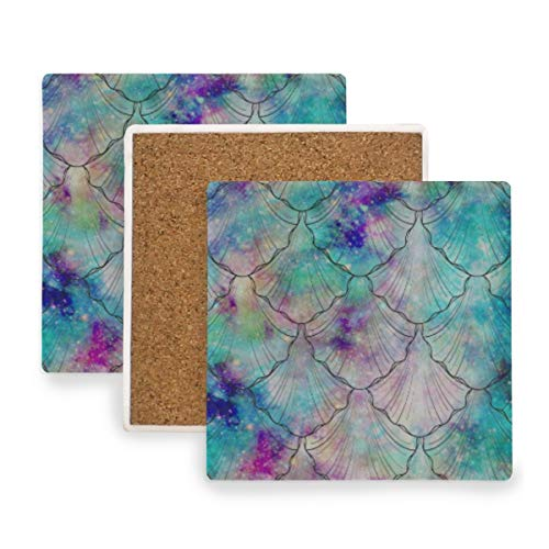 Colorful Ocean Sea Fish Mermaid Scales Coasters, Protection for Granite, Glass, Soapstone, Sandstone, Marble, Stone Table - Perfect Drink Coasters,Square Cup Mat Pad for Home, Kitchen or Bar 1 Piece