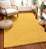Well Woven Madison Shag Piper Yellow Grey Solid