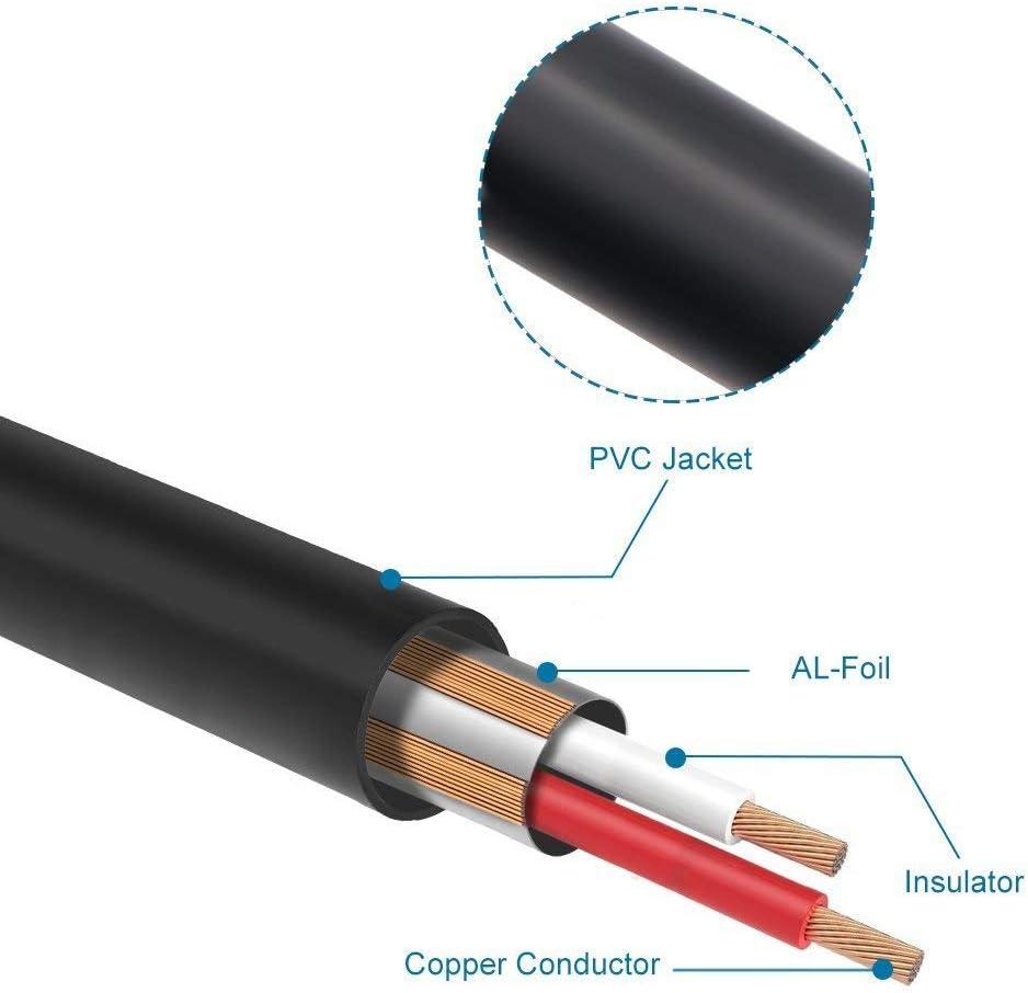 J/&D XLR a 2 RCA Cavo Patch Y Spinotto 1,8m PVC Sgusciato Unbalanced 2x Cinch Maschio a XLR Femmina Audio Stereo Adattatore Cavo di Interconnessione per Altoparlante Condensatore Microfono Mixer AMP