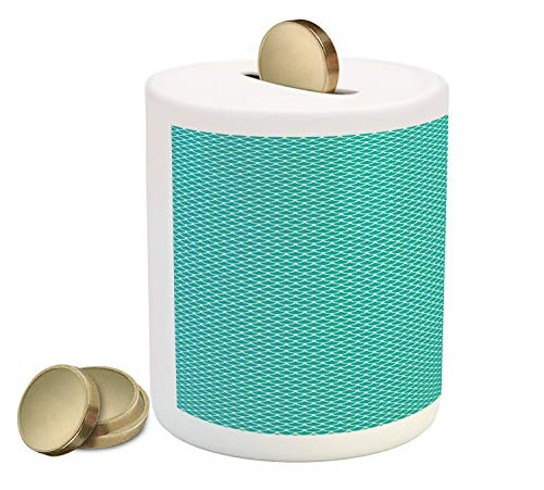 - Lunarable Abstract Piggy Bank, Overlay Circular Rounds Continuous Pattern Fish Scale Like Graphic, Printed Ceramic Coin Bank Money Box for Cash Saving, Dark Seafoam and Ivory