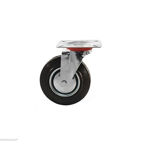 16 Ruedas de goma 100 mm industriales con placas pivotantes para carros