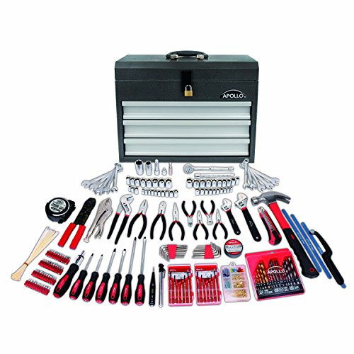 Apollo Tools DT6805 All Purpose Mechanics Tool Kit in Heavy Duty 3 Drawer Steel Tool Box, 300 Piece