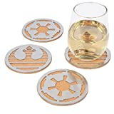 Star Wars Coasters, Set of 4 - Cork with Laser Cut Steel Rebel and Imperial Logos - 4'' Round