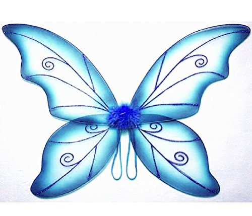 Blue Pixie Costume (Costume Fairy Wings - Large (34in) Pixie Princess Dress up Wings By Cutie Collection (Adult, Blue))