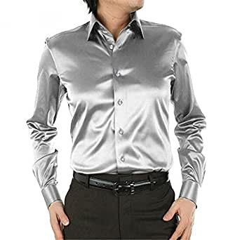 B dressy Slim Plus size men wedding dress shirts long sleeve Loose men silk shirt Men's clothing chemise homme 21 colors Cool Sa01100aMedium