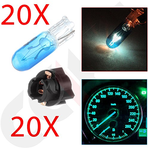 CCIYU Blue Car T5 Halogen Bulbs For Marker Clearance Light Auto Side Lamp 70 2721 With Twist Lock Sockets ((Total of 40 Pcs) (Lamp Marker Side Town Car)