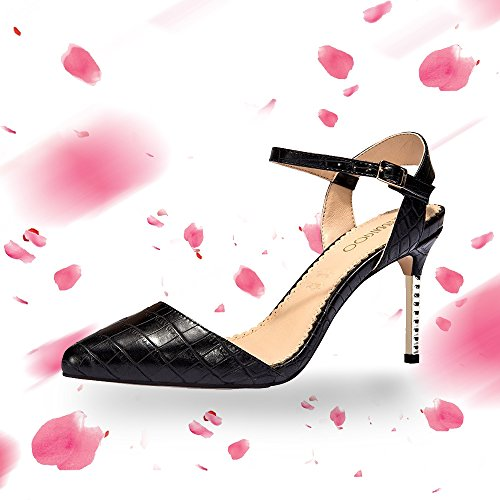 Rabbitgoo Women's New Classic Elegant Versatile Stiletto Leather Strap Dress Pump Heels Shoes,Black,9 B(M) US