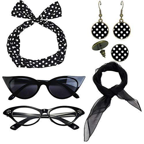 1950's Womens Costume Accessories - 50s Chiffon Scarf,Cat Eye Glasses,Bandana Tie Headband,Drop Dot Earrings (Black) -