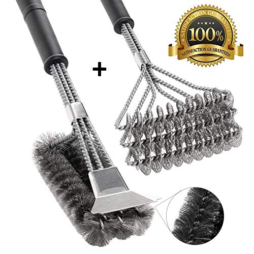 FIRECOW BBQ Grill Brush Set of 2, Safe Grill Cleaning Brush Stainless Steel Bristle Free with Scraper for Porcelain, Cast Iron, Ceramic Grill Grate Cooking Grid, 18