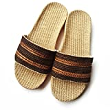 AODEW Linen Slippers Indoor Couples Home Outdoor Beach Sandals Flax Bedroom Slipper Skidproof