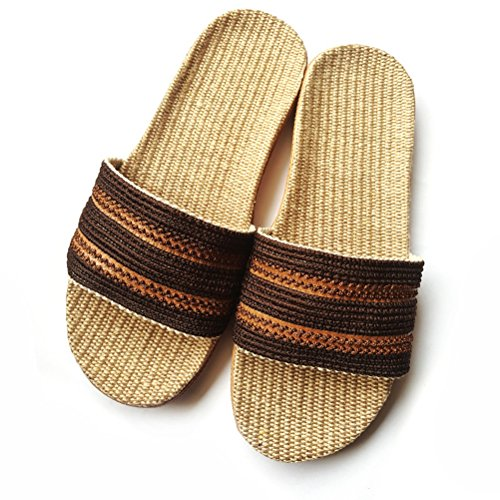 Toe Flax Summer Slipper House Open Breathable Men Lightweight Linen for NEAER Women Brown Slipper Slippers qSnZgg