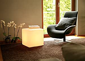 Cube cubo luminoso/cubo para sentarse, luces, B 44, L 44, H 45 cm, polietileno mate, con E27 de bajo consumo (230 V), para interiores