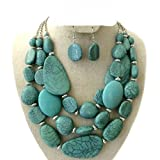 Statement Layered Strands Turquoise Stone-simulated Chunky Beads Necklace Earrings Set Gift Bijoux …