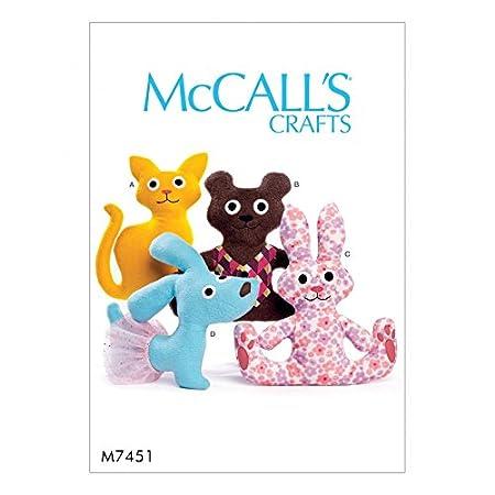 BEAR CAT BUNNY RABBIT DOG MCCALL/'S SEWING PATTERN 7451 BABY STUFFED ANIMAL TOYS