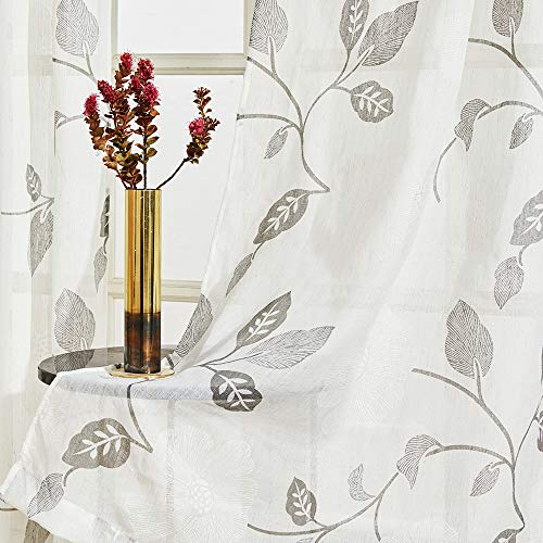 (MRTREES Sheer Curtains Floral Printed Linen Textured Curtain Sheers Living Room 63 inch Length Leaves Print Bedroom Window Treatment Set 2 Panels Rod Pocket Drapes Grey Flower Light Filtering)