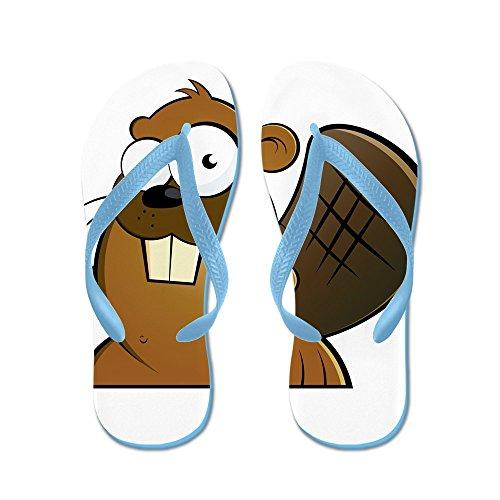 Cafepress Cartoon Bever - Flip Flops, Grappige String Sandalen, Strand Sandalen Caribbean Blue