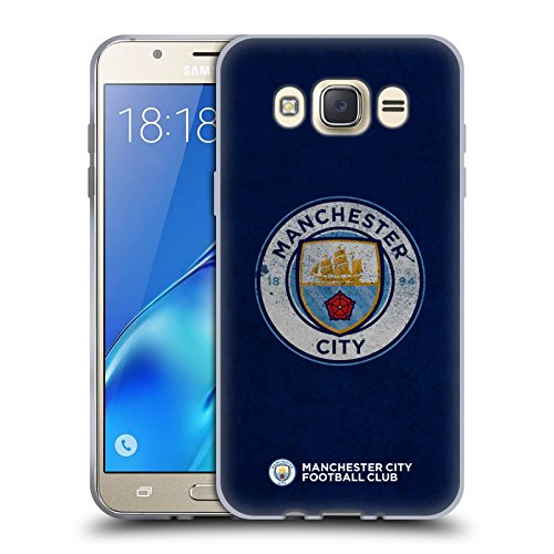 Official Manchester City Man City FC Distressed 2017/18 Badge Soft Gel Case for Samsung Galaxy J7 - Distressed Head