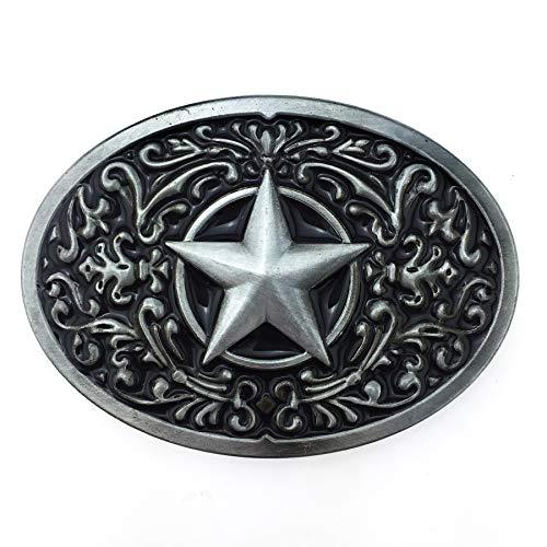 XGALA Fashion American Black Enamel Pattern Lone Star Oval Belt Buckle For Women Men