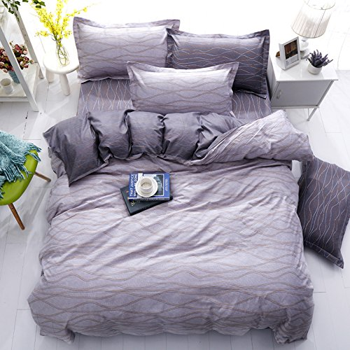 "Discount KFZ Bedding Set Duvet Cover Flat Sheet Pillowcase No Comforter ZL Twin Full Queen Hello Stripe Pulsation Jump Murphy Lattice Design (Pulsation Jump, Grey, Queen, 79""x91"") hot sale"