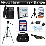 16GB Accessory Kit For Sanyo VPC-GH4 VPC-GH2 High Definition Camcorder Includes 16GB High Speed SD Memory Card + Extended (900Mah) Replacement Sanyo DB-L80 Battery + AC/DC Travel Charger + Deluxe Case + Tripod + Mini HDMI Cable + USB 2.0 SD Reader + Mo
