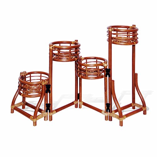 (4 Tier Natural Rattan Wicker Plant Flower Stand Colonial)