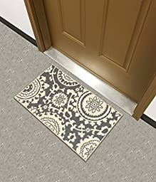 Rubber Backed 2-Piece Rug SET Floral Swirl Medallion Grey & Ivory Non-Slip Area Rug - Rana Collection Kitchen Dining Living Hallway Bathroom Pet Entry Rugs RAN2033-2PC