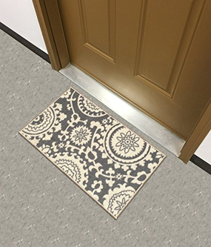 Kapaqua Rubber Backed Mat 18'' x 32'' Floral Swirl Medallion Grey & Ivory Doormat Accent Non-Slip Rug - Rana Collection Kitchen Dining Living Hallway Bathroom Pet Entry Rugs RAN2033-12 by Kapaqua