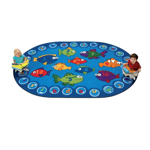 Carpets for Kids 6806 Literacy Fishing Kids Oval Rug, 6'9