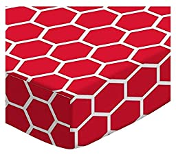 SheetWorld Fitted Oval Crib Sheet (Stokke Sleepi) - Red Honeycomb - Made In USA
