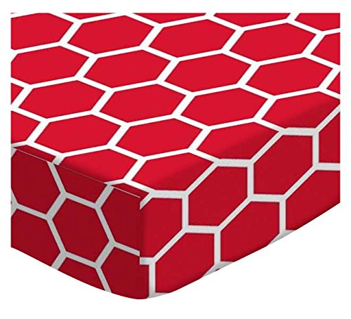 SheetWorld Extra Deep Fitted Portable Mini Crib Sheet - Red Honeycomb - Made In USA by SHEETWORLD.COM
