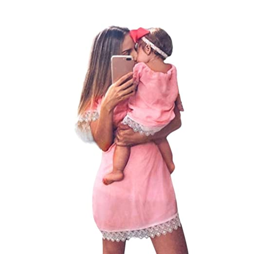 0611c9e89ac Rucan Parent-Child Solid Print Lace Dress Family Clothes Outfits Mommy and Me  Matching Dress
