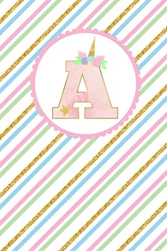 Diagonal Accent - Unicorn Monogram Journal - Letter A: Pink Letter With a Unicorn Horn and Flowers Accent on Bright Colored Diagonal Stripe Background