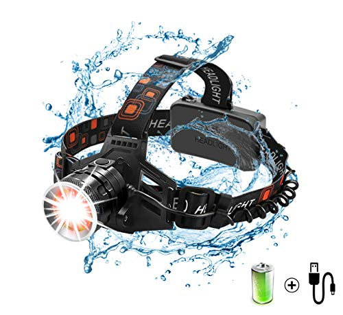 Wsky LEDHeadlamp, High Lumens Headlamp Flashlight, Waterproof and Durable Led Headlamp, Adjustable Headband, 4 Mode Work Light, White Led + Red Light, Perfect for Camping, Biking, Hunting, ()
