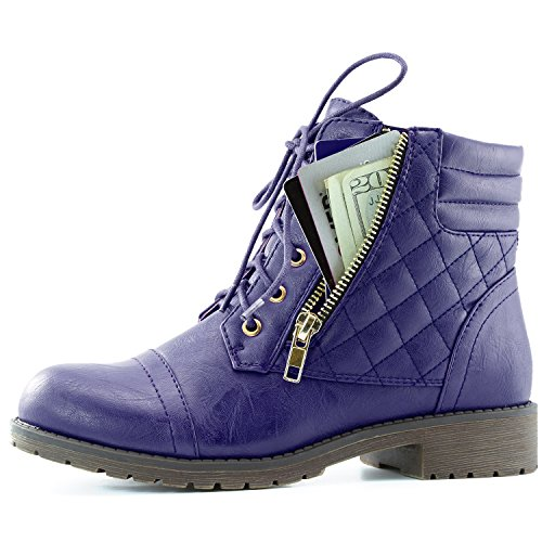 ilitary Lace Up Buckle Combat Boots Ankle High Exclusive Credit Card Pocket, Purple Pu, 9 (6 Inch Quilted Boot)