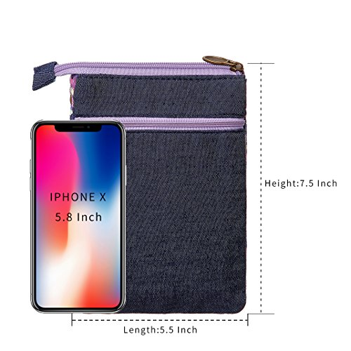 Wallet Style Purple National Women Crossbody Small Bags Purse Cell Canvas Phone Purse qXwwEHZ