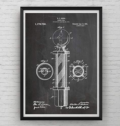 Barbers Pole Patent Print - Poster Shaving Gift Fathers Dad
