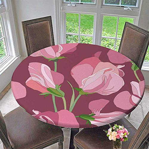 PINAFORE HOME Round Premium Tablecloth with Lilac and Pink Flowers Sweet peas Stain Resistant 63
