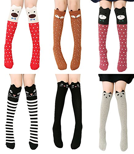 Girls Knee High Sock,Cotton Catroon Animal Bear Cat Fox Over Calf Stockings Assorted 6 Colors