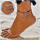 NewChiChi 2PCS Boho Layered Anklet Bracelet Handmade Beach Foot Jewelry for Women Girls